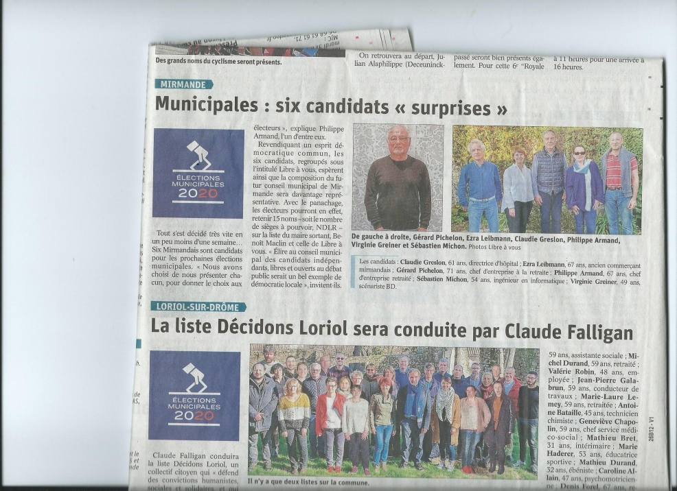 Article DL du 28 fev 2020- elections municiaples libre à vous.JPG